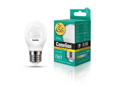 ნათურა ლედ განათებით ეკონომიური 5 ვატი Camelion Led Lamp LED5-G45/830/E27