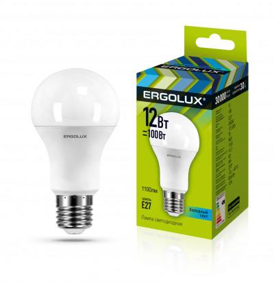 Ergolux Led Lamp  LED-A60-12W-E27-4K ნათურა ლედ განათებით ეკონომიური 12 ვატი   ცივი ნათება E27 ცოკოლ